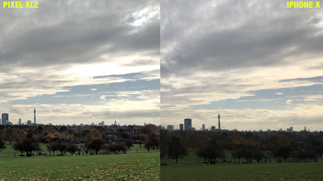 London Skyline shot iPhone X vs Google Pixel 2 XL Camera